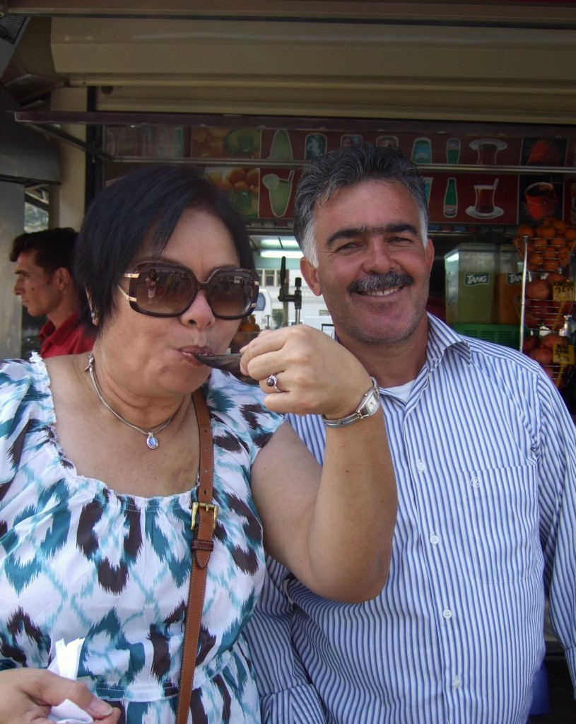 Mom enjoying street mussels