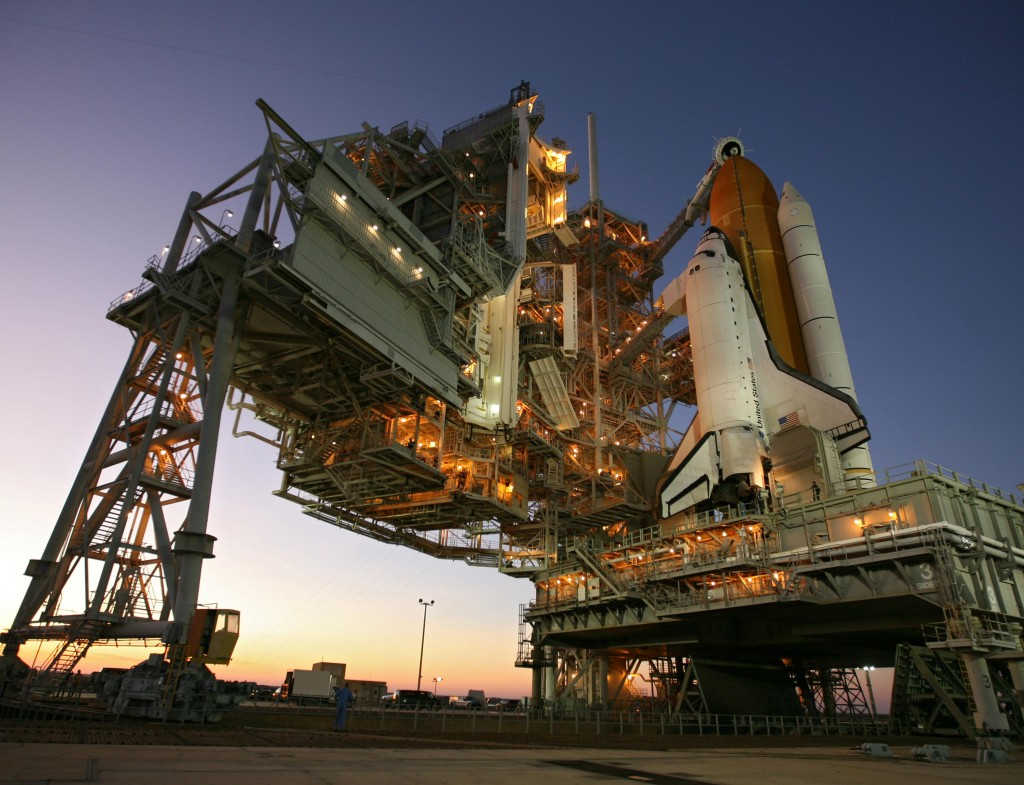 Space Shuttle Atlantis awaits liftoff.