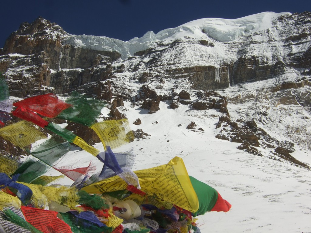 Prayer flags flying in the winds of Thorung La