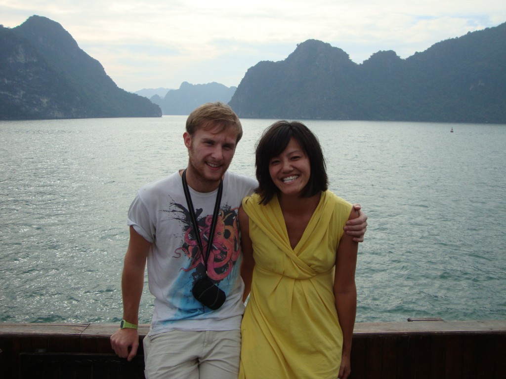 All smiles as we set off into Halong Bay