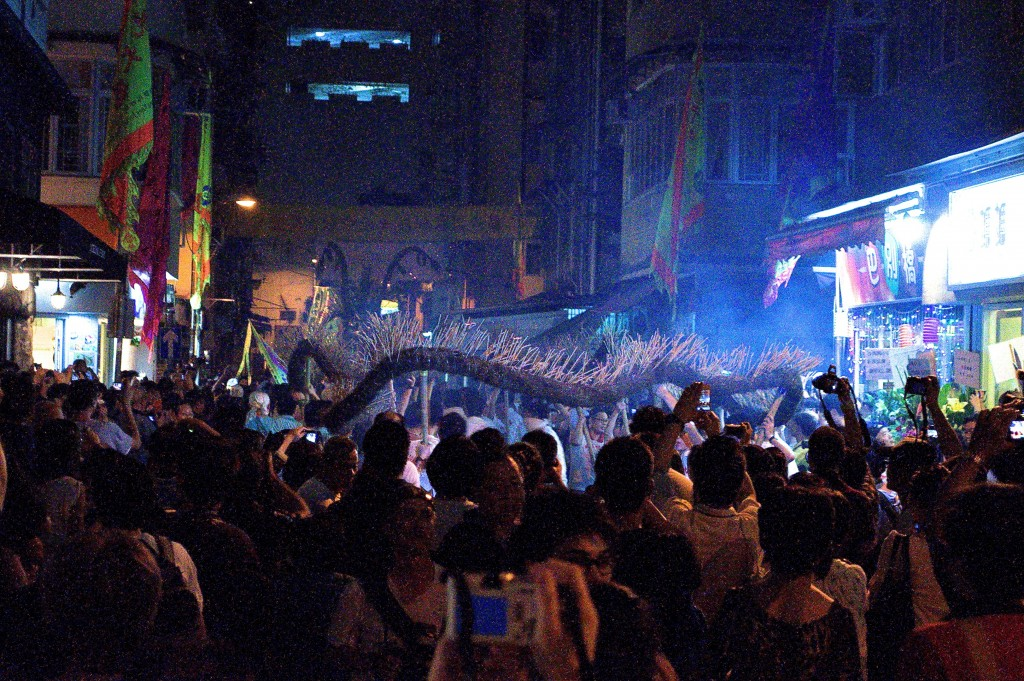 Fun chaos during Tai Hang's Fire Dragon dance