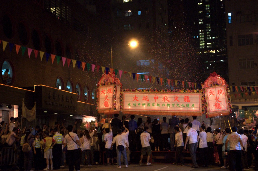 The crowds gather for the annual Tai Hang Fire Dragon Dance