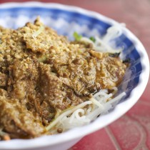 Grilled beef with peanut sauce over vermicelli noodies and fresh veggies, YUM