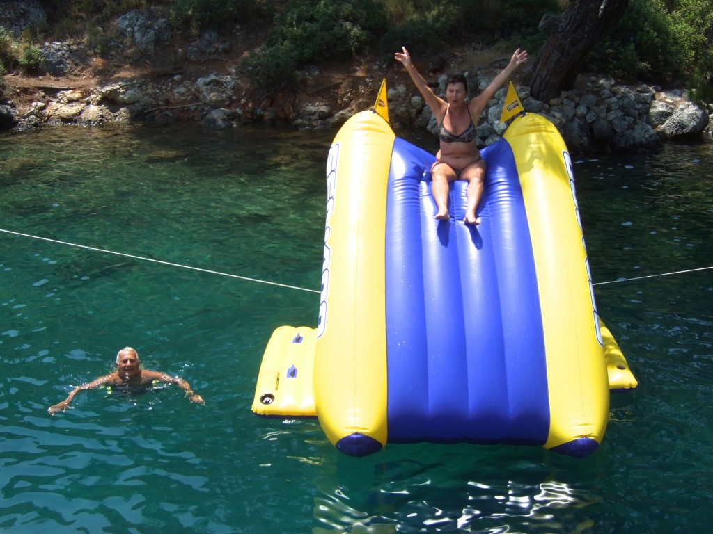 "Turkish ""dede"" and ""anneanne"" on the waterslide."