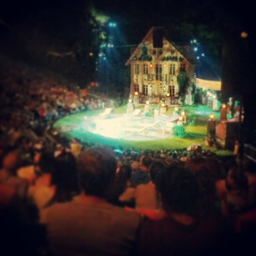 The set of Love's Labour's Lost at Shakespeare in the Park.