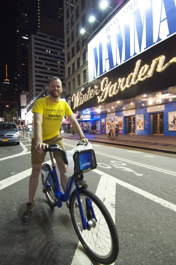 Leigh on his Citibike after our day of food and biking.