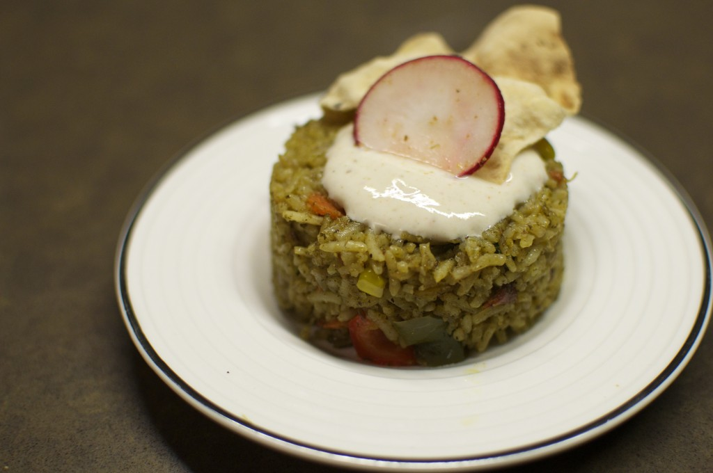 South African mint briyani with cooling yogurt raita.
