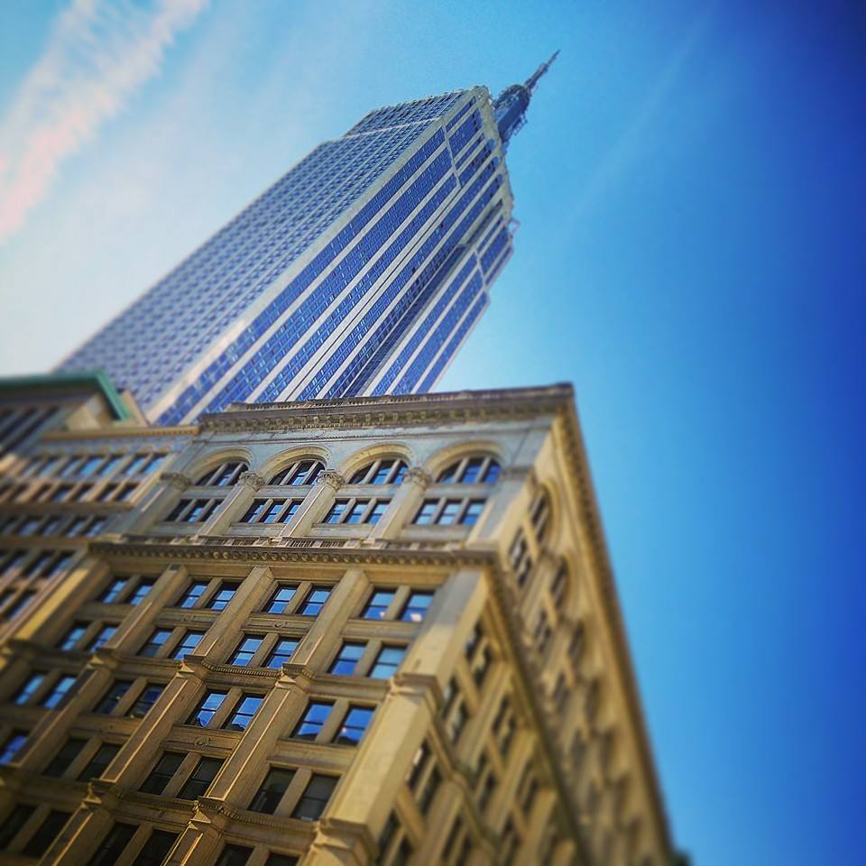 Looking up at the Empire State Building in New York City.