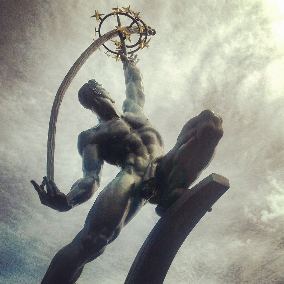 The Rocket Thrower statue in Queens, New York.