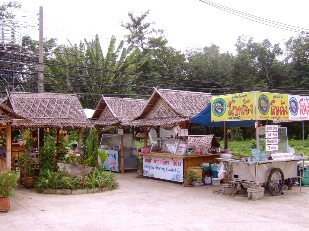 Typical Thai street food stalls.